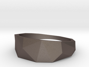 Low Poly Ring in Polished Bronzed-Silver Steel: 9 / 59