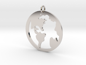 Globe - Necklace Pendant in Rhodium Plated Brass