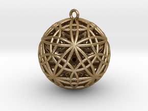 "Sphere of Sacred Union 2"" Pendant  in Polished Gold Steel"