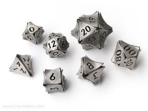 Peel Dice - 7 die polyhedral set in Polished Bronzed-Silver Steel