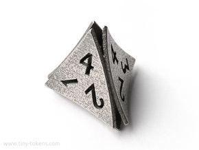 Peel Dice - D4 (four sided gaming die) in Polished Bronzed-Silver Steel