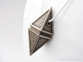 Hedron Pendant (v2) in Polished Bronzed-Silver Steel