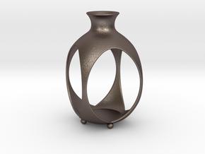 Tea Light Lantern | Vase in Polished Bronzed-Silver Steel