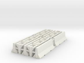 1/87 H0 Betonschutzwand (Jersey Profil) 10x in White Natural Versatile Plastic