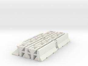 1/87 H0 Betonschutzwand (Jersey Profil) 8+2 in White Natural Versatile Plastic