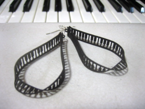 teardrop piano frame earrings in Black Natural Versatile Plastic