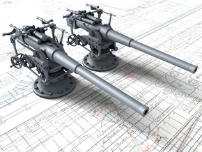 "1/100 German 8.8 cm/45 (3.46"") SK L/45 Guns x2 in Smoothest Fine Detail Plastic"