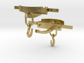 CPL08 Couplings for 3 Ton Slate Wagon in Natural Brass (Interlocking Parts)