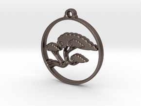Bonsai Pendant in Polished Bronzed-Silver Steel