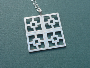 Breeze Blocks Pendant  in Silver in Natural Silver