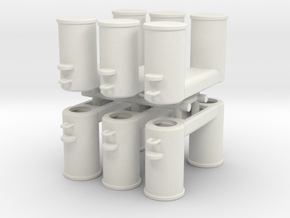 Double Bollards DIN 82607 - 1:50 - 6X in White Natural Versatile Plastic