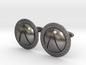 Spartan Shield Cufflinks in Polished Nickel Steel