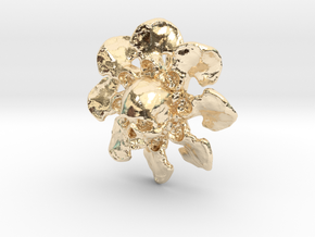 Skull Flower Bone Pendant in 14K Yellow Gold