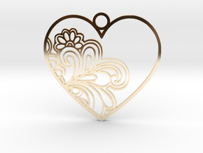 Heart Flower in 14k Gold Plated Brass