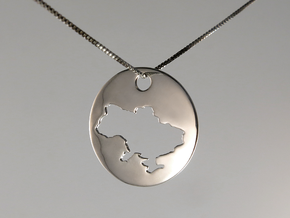 Pendant - Map of Ukraine - Stencil - #P5 in Polished Silver