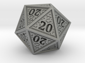 Hedron D20 (All 20's version) Solid in Gray PA12