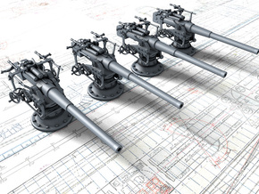 "1/128 German 8.8 cm/45 (3.46"") SK L/45 Guns x4 in Smoothest Fine Detail Plastic"