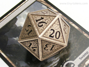 Hedron D20 SPINDOWN (Hollow), balanced die in Polished Bronzed Silver Steel