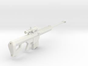1:6 Miniature Barrett M82A1 Sniper Rifle in White Natural Versatile Plastic