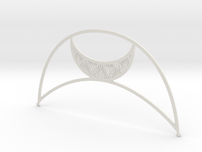 Art Deco Moon Headpiece in White Natural Versatile Plastic
