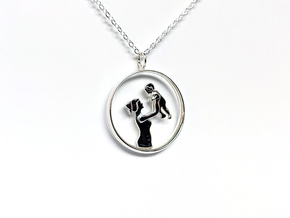 Mother & Son Pendant 1 -Motherhood Collection in Polished Silver