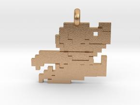 Mario bros 8 bit Pendant necklace all materials in Natural Bronze