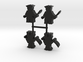 Pirate Meeple, hook, 4-set in Black Natural Versatile Plastic