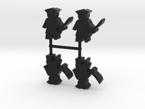 Pirate Meeple, peg leg, 4-set in Black Natural Versatile Plastic