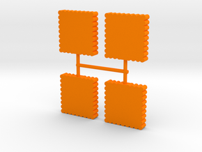 Square Palisade Wall Meeple, 4-set in Orange Processed Versatile Plastic