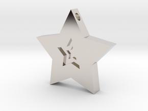 Star Charm (Precious metals)   in Rhodium Plated Brass