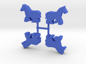 Horse Meeple, running, 4-set in Blue Processed Versatile Plastic