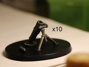 28mm Mortars (10) in Smooth Fine Detail Plastic