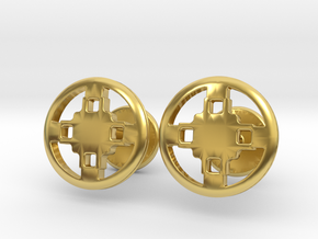 Dame Dame Adinkra Cufflinks in Polished Brass: Small