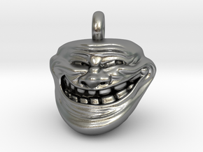 Trollface Meme Pendant necklace all materials in Natural Silver