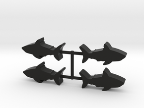 Shark Meeple, 4-set in Black Natural Versatile Plastic