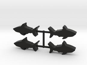 Shark Meeple, 4-set in Black Natural Versatile Plastic