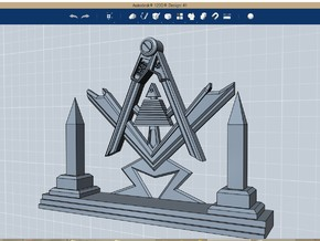 Masonic Display Piece Medium in Polished Bronzed Silver Steel