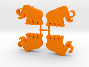 Mammoth Meeple, running, 4-set in Orange Processed Versatile Plastic