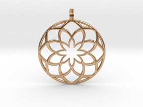 8 Petals Pendant in Polished Bronze