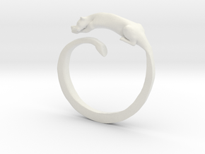 Sleeping Lioness Ring in White Natural Versatile Plastic