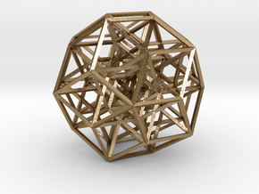6-cube projected into 3D - square struts in Polished Gold Steel