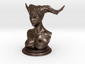 Demon head bust 02 in Polished Bronze Steel