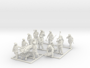 1/87 Fire Fighters set 2 in White Natural Versatile Plastic