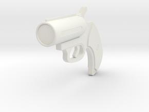 1:3 Miniature Flare Gun in White Natural Versatile Plastic