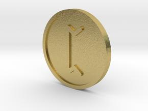 Pertho Coin (Elder Futhark) in Natural Brass