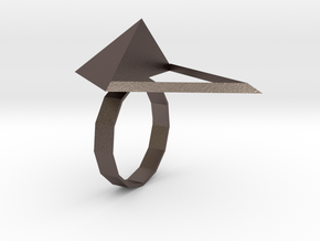Triangle Ring in Polished Bronzed-Silver Steel