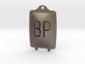 Blood pack pendant in Polished Bronzed-Silver Steel