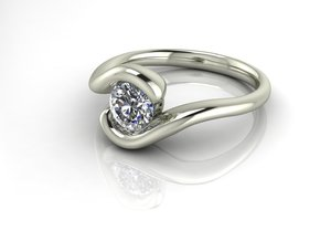 Tension setting solitaire 2 NO STONES SUPPLIED in Fine Detail Polished Silver