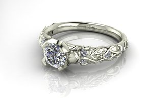 Pattern solitaire ring NO STONES SUPPLIED in Fine Detail Polished Silver