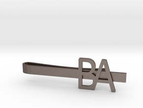 Custom Initial Tie Clip in Polished Bronzed-Silver Steel